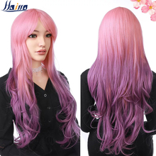HAIRRO Wavy Synthetic Hair Wigs With Bangs 66CM Mixed Color Cosplay Party Wig Pink Purple Ombre Grey Brown Wigs For Women