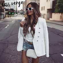 lessverge White tassel tweed jacket coat women Double breasted v neck buttons autumn winter Outwear female