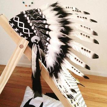 Children Party American Native Indian Feather Headdress Hat Photography Prop