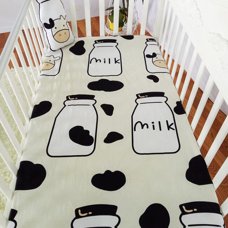 Newborn Baby Bed Cover Toddler Crib Infant Bed Sheets Cot Crib  Bed Sheet Soft Printing Cotton Kids Bedding