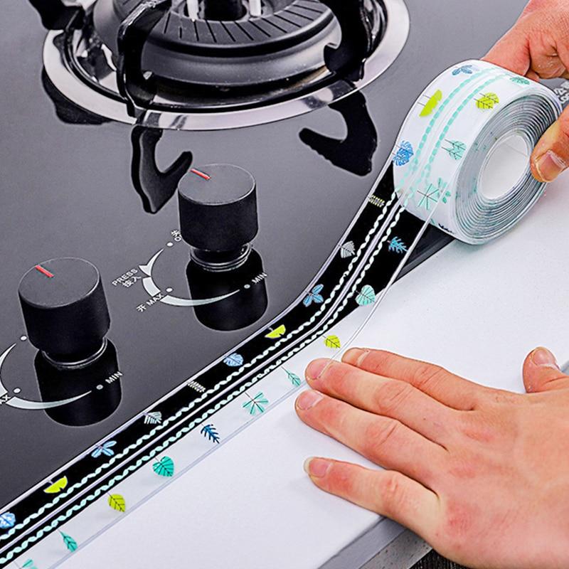 Kitchen Sink Waterproof Sticker Transparent Anti-mold Bathroom Sealing Tape Stove Gap Self Adhesive Sticker Countertop Gap Strip