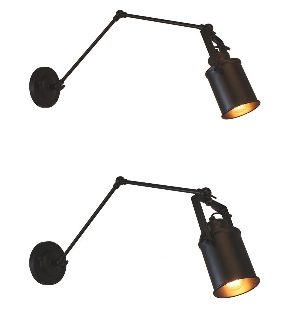 Loft américain Long bras Applique réglable noir lampe de bureau luminaires Luminaire Applique chambre luminaires