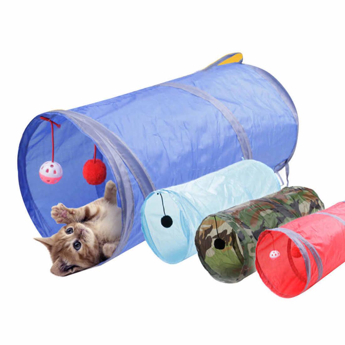 고양이 놀이 무지개 터널 갈색 foldable 2 구멍 고양이 터널 새끼 고양이 장난감 대량 장난감 토끼 터널 고양이 동굴 재미 있은 애완 동물 터널