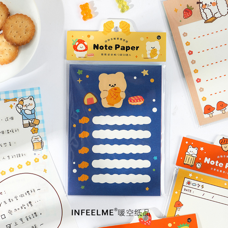 30 Sheets Animal Tent Camp Series Note Memo Pad Kawaii Cat Stationery Notes Portable Notepad School Office Supply Papeleria