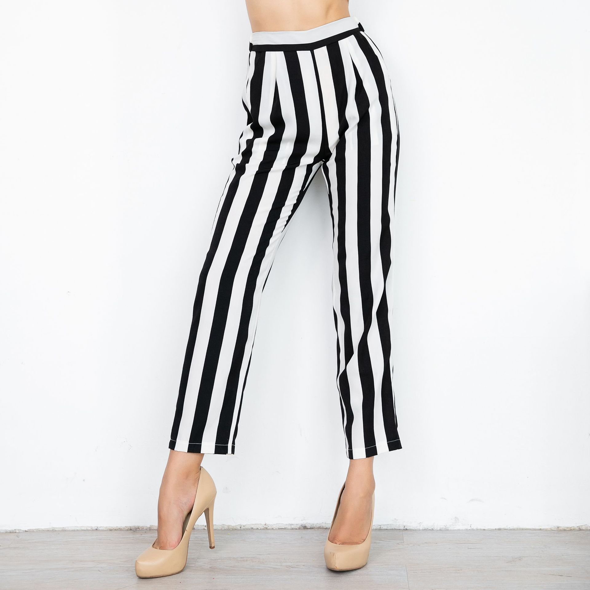 Europe And America WOMEN'S Dress Printed Stripes Straight-leg Pants WOMEN'S Casual Slacks Wholesale Black And White Stripes WOME