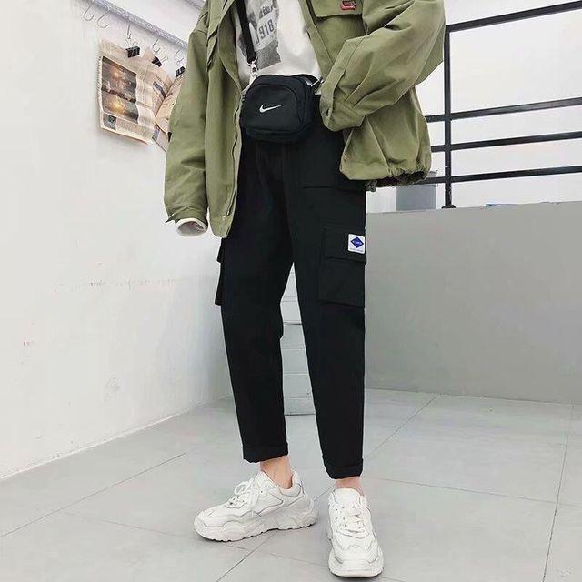 harajuku zipper streetwear women casual harem pants with chain New solid black pant cool fashion hip hop long trousers 6