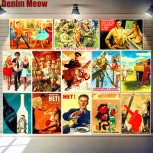 Stalin USSR CCCP Retro Metalen Poster Vintage Tin Teken Thuis Bar Cafe Kamer Pub Decoratie Russische Lady Wall Art Stickers n318(China)