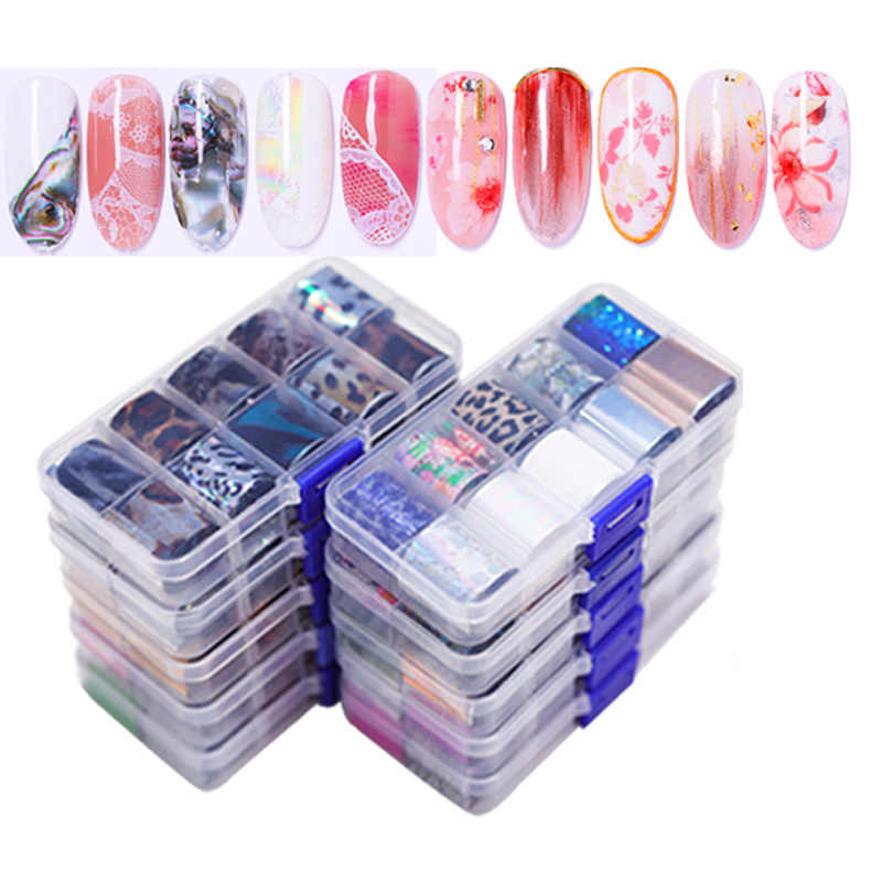 Holographic Nail Foil Set 16/14/10 Pcs Transparent AB Color Nail Art Transfer Sticker Manicure DIY Sticker Decoration