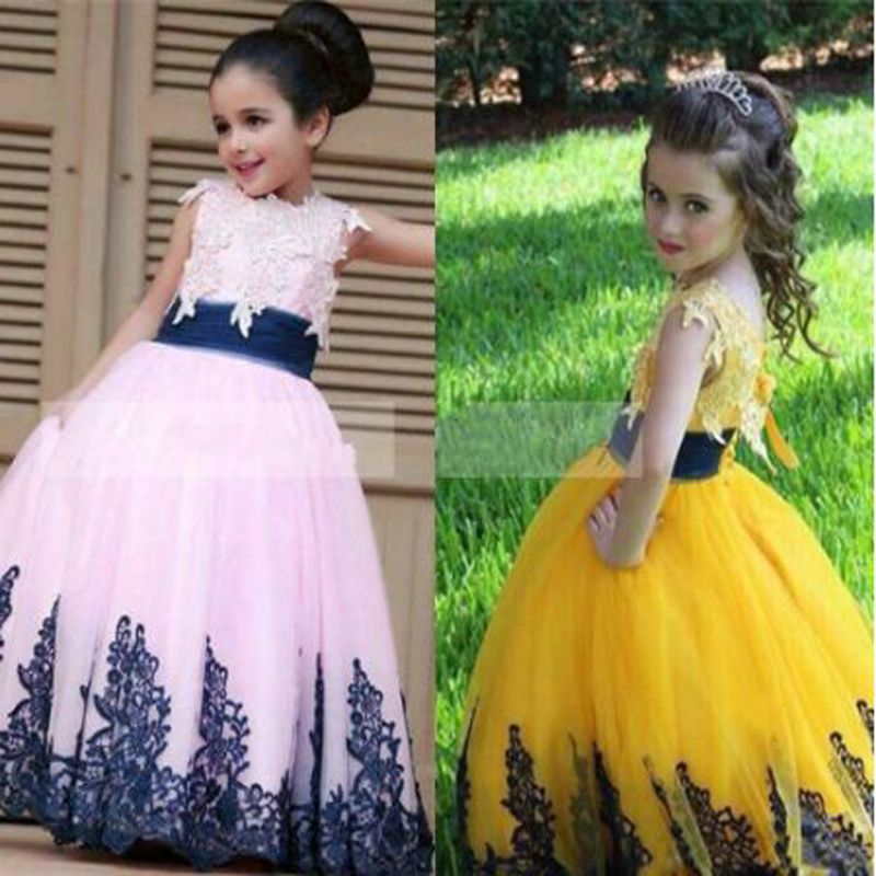 Pin Princess Appliques Lace Ball Gown   Flower     Girl     Dresses   Cute O-neck Sleeveless Above Knee, Mini Communion Gown