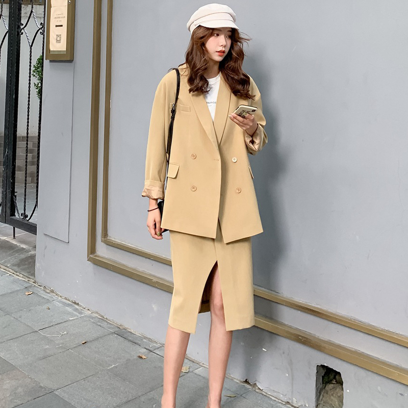 High Quality Vintage Women's Skirt Suit 2019 Casual Temperament Solid Color Loose Large Size Suit Female Two-piece Office Set