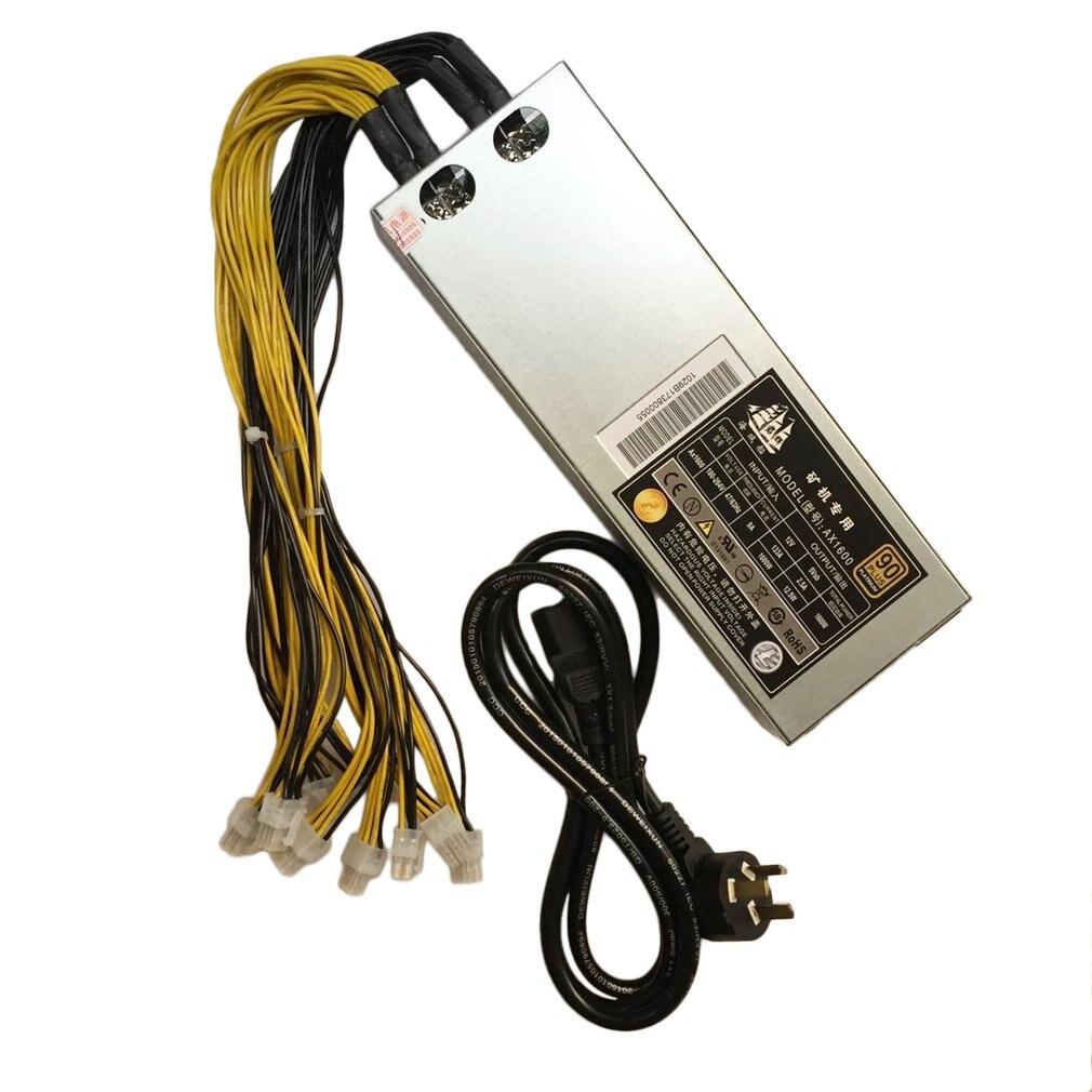 Pour Bitcoin Miner alimentation minière S7 S9 12.5 T/13 T/13.5 T AC180-264V 47/63Hz 9A boîtier en argent 1600W 92%