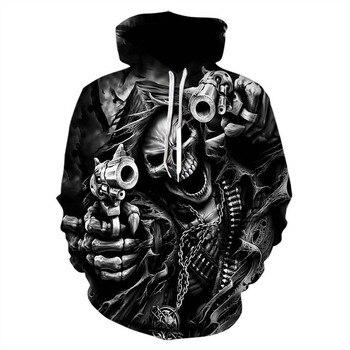 Autumn Winter Fashion Men Women Sweatshirt 3D Printing Grim Reaper Skull Hoodie Spoof Long Sleeve Hooded Pullover 6XL Sweatwear 2020 digital printing 3d printing explosion models long sleeved men and women hooded couple hoodie