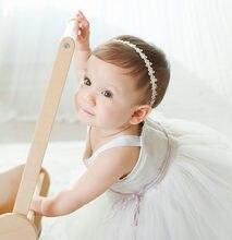 Bébé filles princesse dentelle fleurs diamant perle bandeaux élastique enfants enfants solide ruban cheveux bandeaux bandeau fille 2020