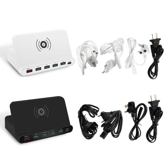 Soporte Universal para estación de carga rápida, adaptador de corriente Universal de carga rápida 3,0, 5x, USB tipo C PD 18W, cargador inalámbrico Qi para teléfono móvil