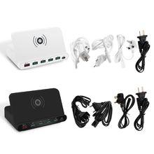 Universal Quick Charge 3.0 5x USB tipo C PD 18W adattatore di alimentazione caricabatterie Wireless Qi supporto per caricabatterie rapido per cellulare