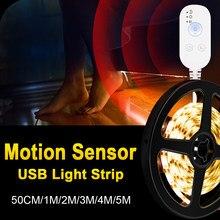 300LEDs PIR LED del Sensore di Movimento Della Luce di Striscia di USB Armadio Letto Lampada LED Under Cabinet Luce di Notte Per Armadio Scale illuminazione della cucina