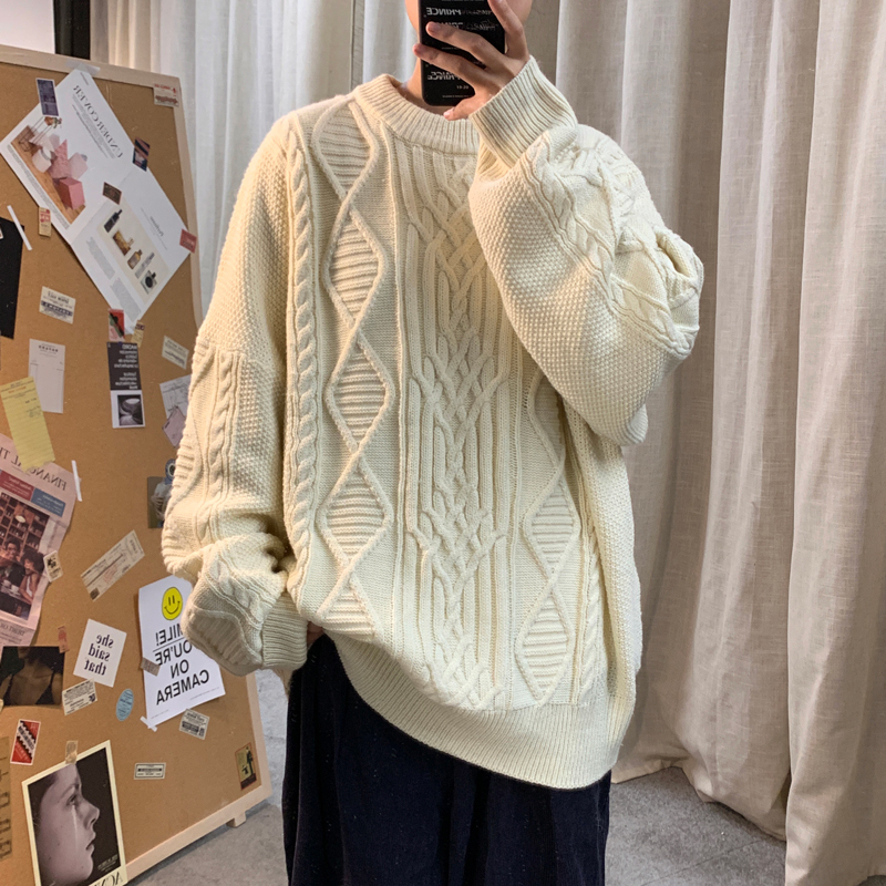 Winter Thick Sweater Men's Warm Fashion O-neck Sweater Pullover Men Loose Knitting Sweaters Male Solid Color Sweter Clothes