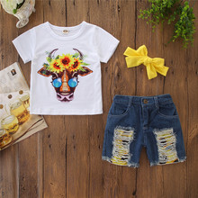 New Arrival Toddler Baby Girl Cow T-shirt Top+Denim Shorts Pants Kid Summer Suits Clothes Set