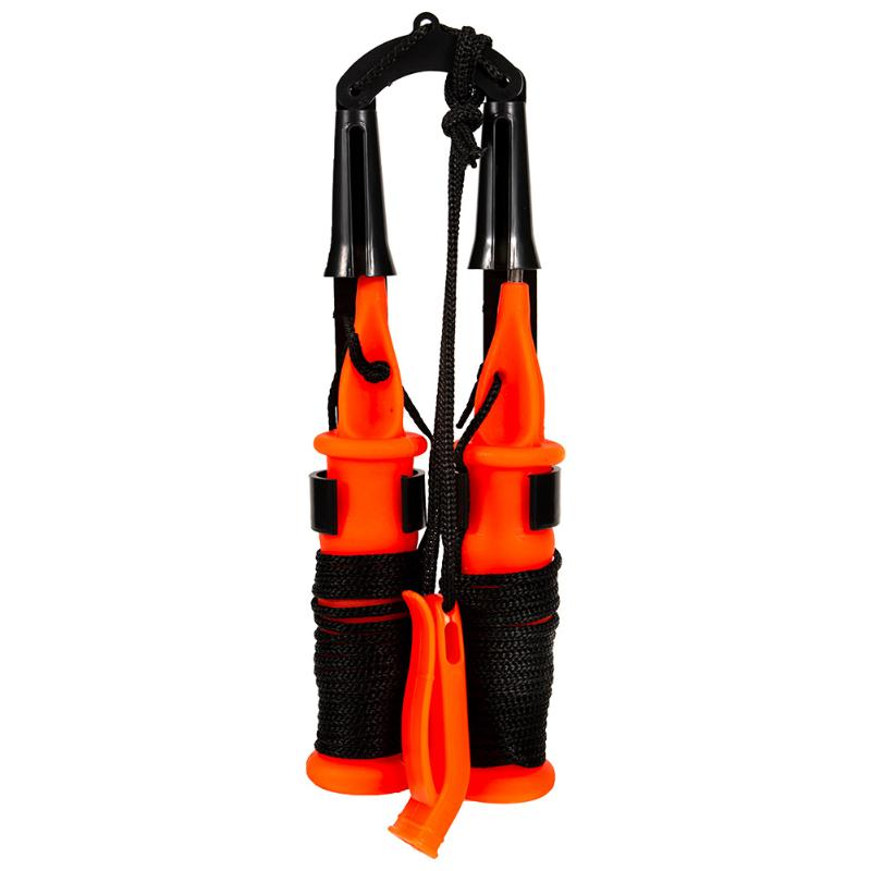 Stainless Steel Ice Fishing Safety Pick Outdoor Life Saving Dual Handheld Spikes Life Preserver With Lanyard Fishing Tackle Tool