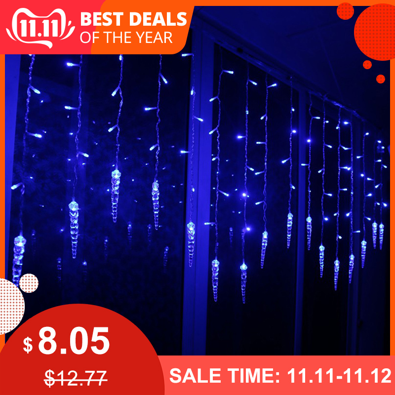 Outdoor Christmas Ice Piton LED String Lights Flashing Curtain Lights Waterproof Holiday Party Connectable Wave Fairy Light D35