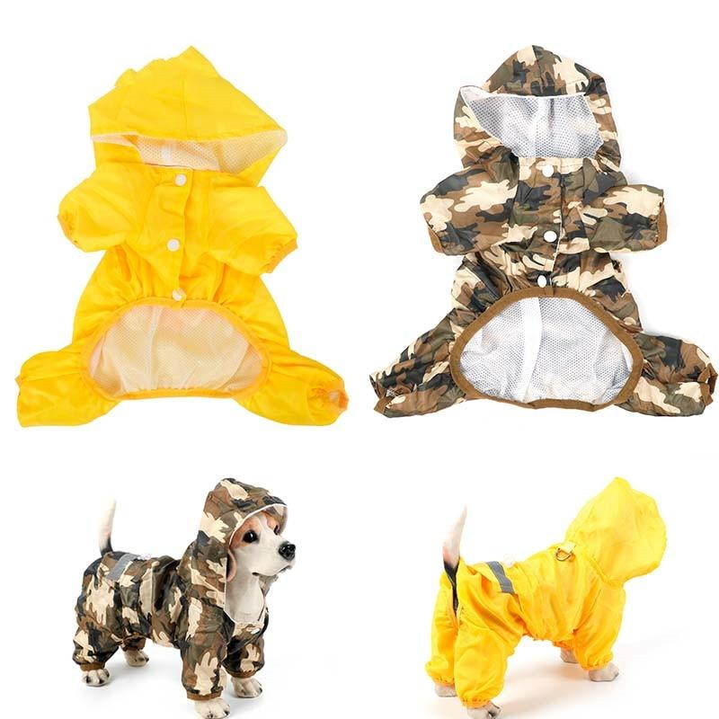 Dog Raincoat Pet Dog Puppy Waterproof Jacket Costumes Reflective Rain Coat Clothes Camouflage Cloak Casual Pet Supplies LargeDog