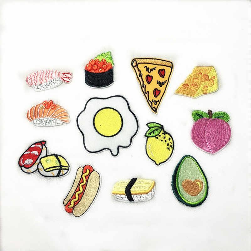 Nuovo Uovo in camicia Sushi Hot Dog Pizza Frutta Avocado Ricamo Miele di Pesche Toppe E Stemmi per Abbigliamento Bambini Vestiti Appliques Distintivo