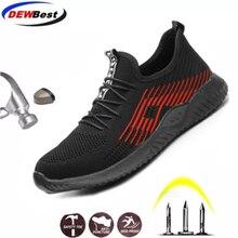 Dewbest 2019 respirável aço toe cap trabalho sapatos de segurança ao ar livre homem antiderrapante desodorante aço puncture proof construção