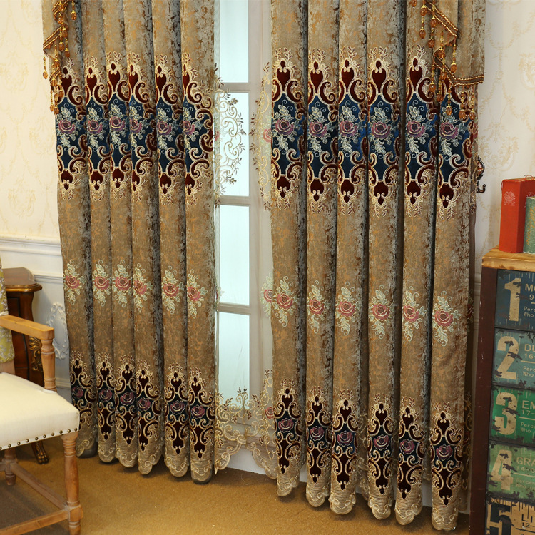 Image 2 - European style Upmarket chenille embroidered Pelmet Retro court  spun gold embroidery living room,valance,Additional purchaseCurtains