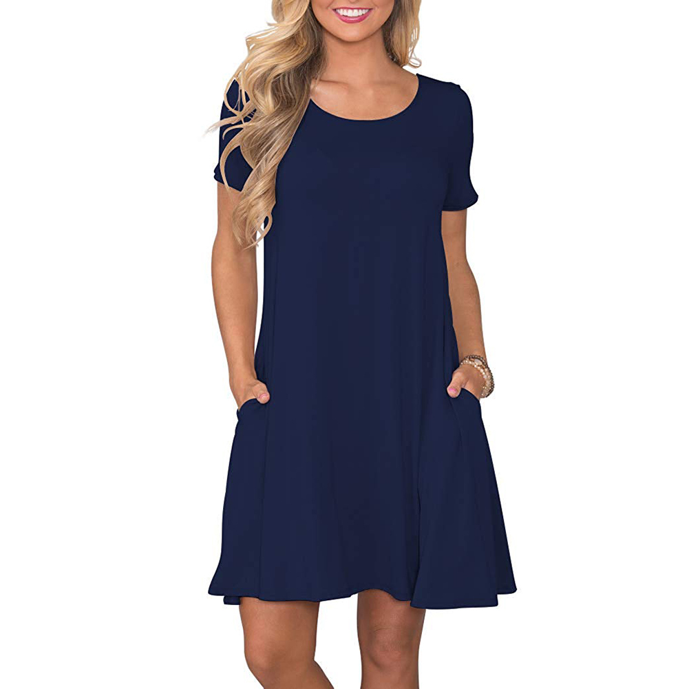 Women's Summer Casual T Shirt Dresses Short Sleeve Swing Dress Pockets 2