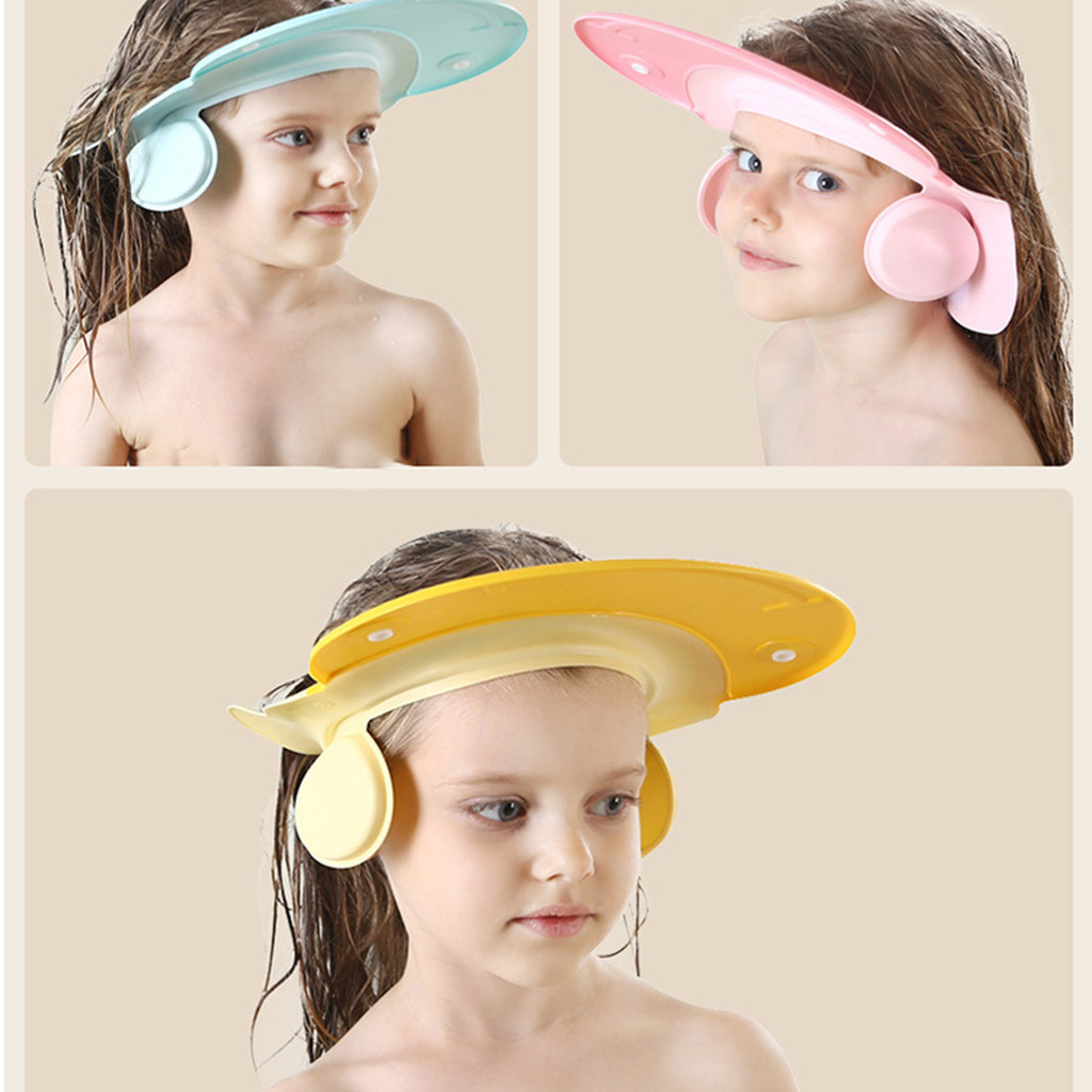 Permalink to Baby Bathroom Safety Visor Cap Child Shower Cap Adjustable Soft Protect Safe Washing Hairs Water prevention Family Accessories