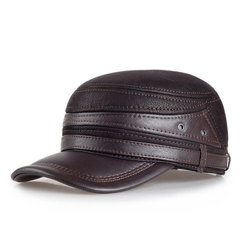 Adult New Genuine Leather Hat Warm Genuine Leather Baseball Cap Winter Outdoor Ear Protection Cap Leather Hat unisex adjustable