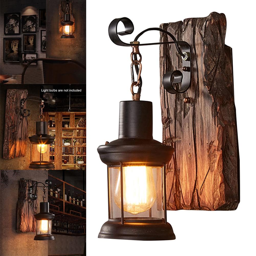 Wall Light Indoor Home Decor Industrial Led Wall Lamp Loft Cafe Lifting Sconce Bedside Corridor Vintage Hotel Nature Wood Light