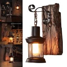 Lámpara de pared Led Industrial para decoración de interiores, lámpara de pared, candelabro de elevación para Loft, cafetería, pasillo de cabecera, lámpara de madera natural Vintage para Hotel