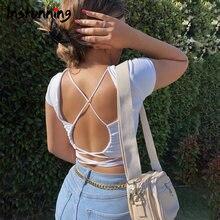 Женские короткие футболки с открытой спиной открытые однотонные