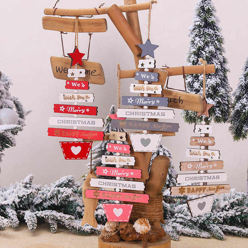 New Christmas Wooden Sign Christmas Decorations for Home Pendant Hanging Ornament Xmas Tree Decor Supplies New Year Gifts 2020