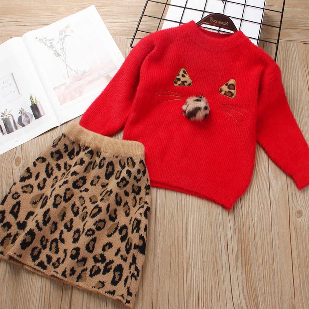 Bebek kız giysileri Set Toddler kız elbise kız uzun kollu ceket vizon Leopardwool elbise 2 adet Set Roupa Infantil Menina