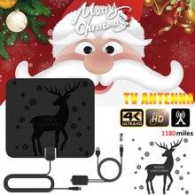4K цифровая HDTV антенна домашняя усиленная антенна 1180 миль HD1080P Рождественский усилитель сигнала приемник для жизни местные каналы