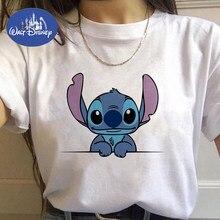 Disney Stitch koszulka damska popularna animacja Lilo i ścieg słodkie nadruki koszulka z okrągłym dekoltem Ropa Mujer koszulki z krótkim rękawem dla dziewczynki