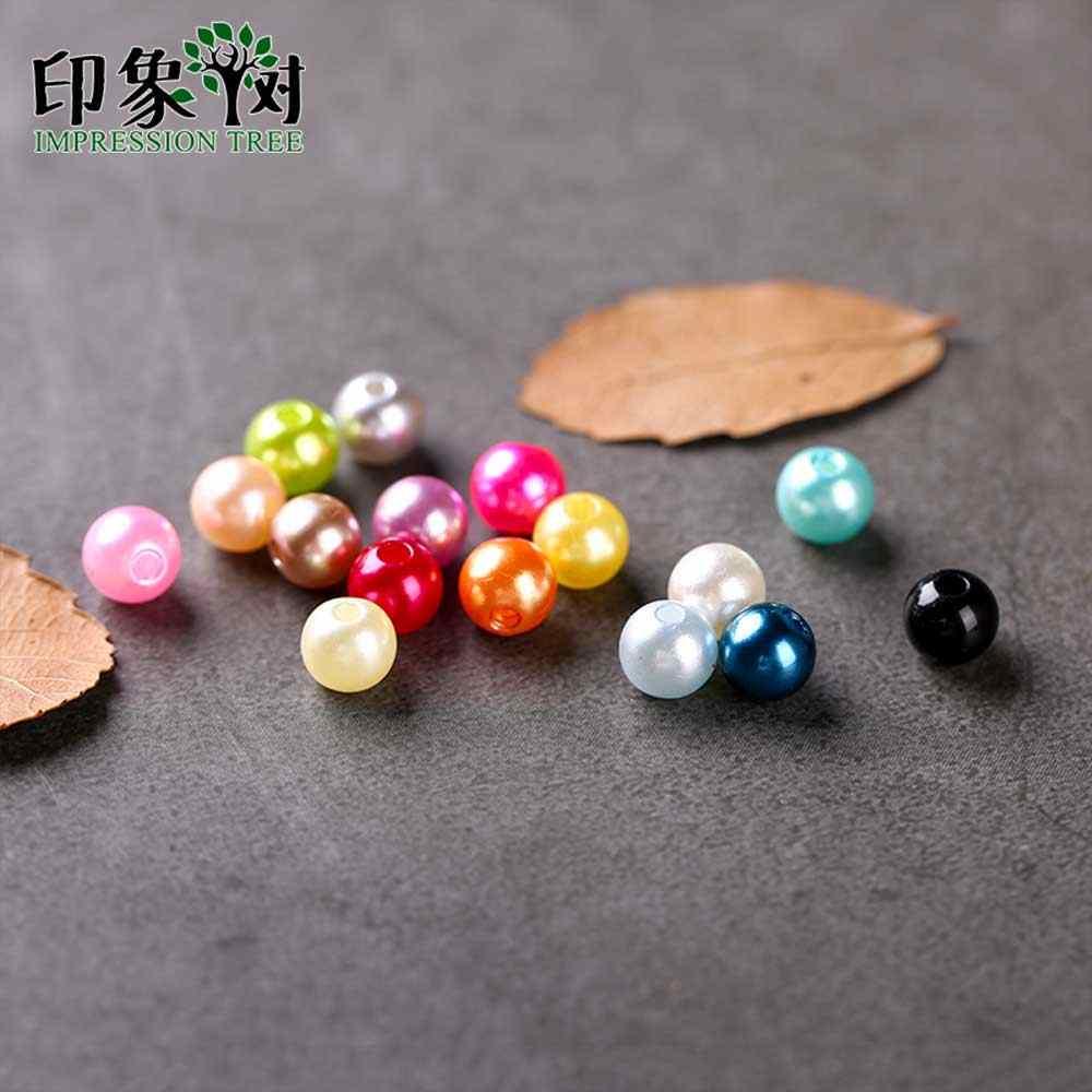 1Pc Runde ABS Perle-form Kunststoff Perlen 6/8/10mm Handmade Ornament Zubehör für DIY schmuck Machen Halskette Armband 2213