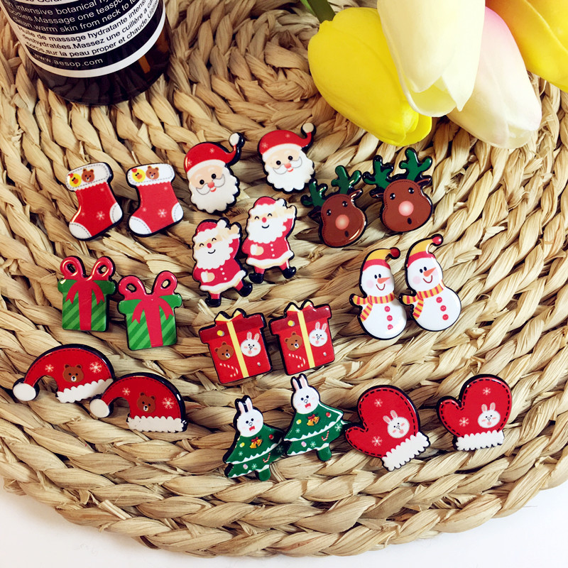 Acrylic cartoon Christmas nail women earrings lovely tree snowflake ornaments versatile simple fine jewelry