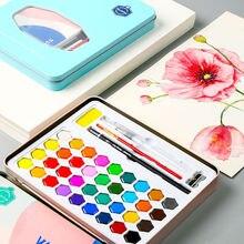 36 цветов твердые акварели пигмента набор для рисования Раскраски для рисования акварельные кисти ручка искусство поставки