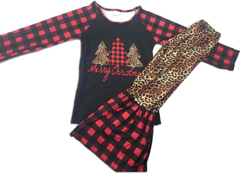 Outono best selling boutique longo-manga comprida xadrez conjunto xadrez vermelha menina terno do Natal dos miúdos uma posição de impressão grande terno perna larga