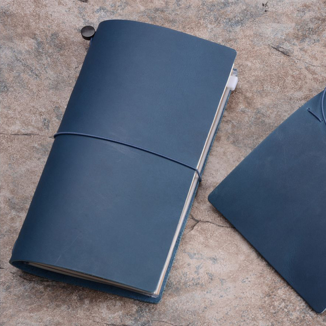 Traveler's Notebook A5 en cuir - Planner rechargeable - bleu