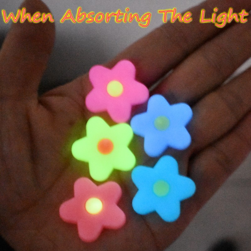 Children 10 PCS Pink/Yellow/Blue/Purple Flowers Fluorescent Shoe Accessory Night Light Bracelet Charms Cool Gift
