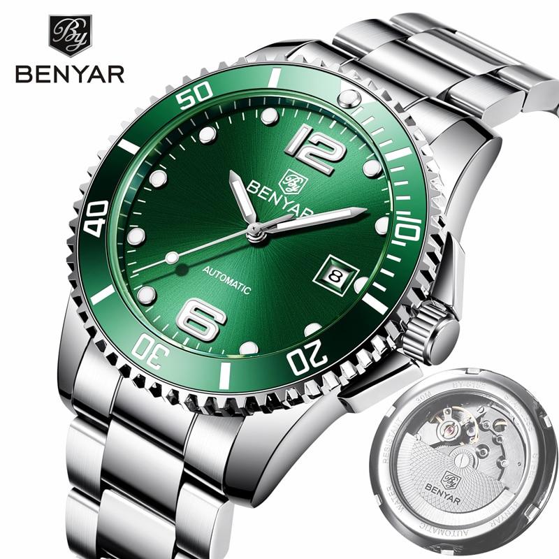 2019 BENYAR Watch Men Automatic Self Wind Mechanical Wristwatch Mens Tourbillon Mens Watches Top Brand Luxury Relogio Automatico in Mechanical Watches from Watches