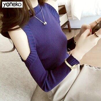 Yoneno Autumn Winter Women Knitting Hole Striped Slim Full Sleeve Off Shoulder Sweaters Pullovers Girls Knitted Knitwear Women