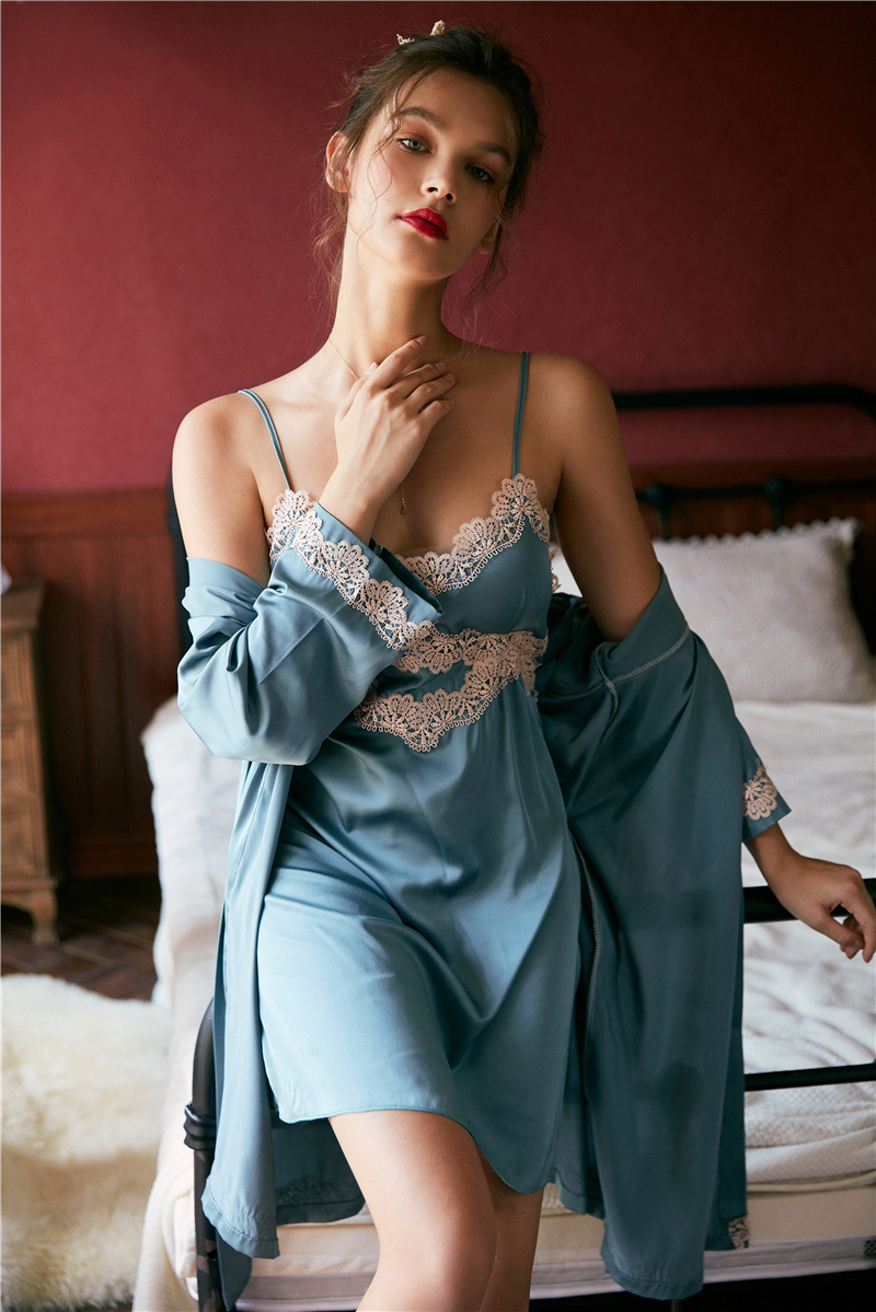 Autumn Sexy Silk With Chest Pad Loose And Comfortable M-XL Lace Sleep Wear Robe And Nightdress Set