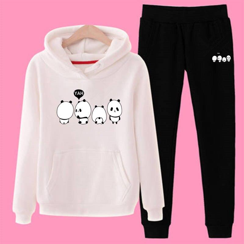 P71 3xl Panda Women Hoodies Pant Clothing Set Casual 2 Piece Set Warm Clothes Solid Tracksuit Women Set Top Pants Ladies Suit