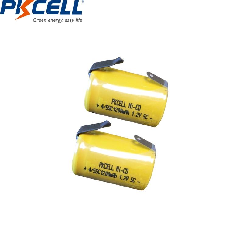 2/6/8/12PCS PKCELL 4/5SC 1200mAh 1.2V Ni-CD Ricaricabile batteria 4/5 SC Sub C batterie con linguette di saldatura per utensili elettrici