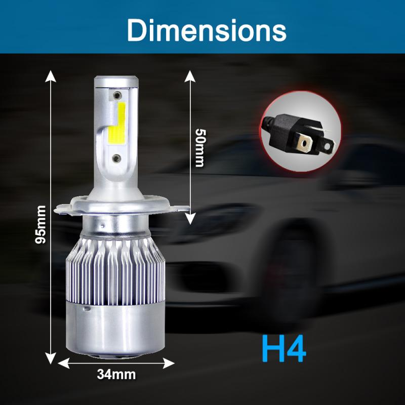 H4 HB2 9003 Car LED Headlight Kit 72W 8000LM Turbo Light Bulb 6000K Beam Angle 360 Degree Waterproof Auto Product Car Accessorie